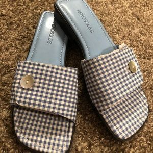 Aerosoles Flat Navy Gingham Mule Sandals Shoes 8 M